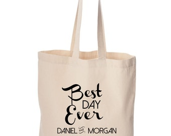 Custom Wedding Totes - Welcome Bag - Personalized Customized Wedding totes with bride and groom's names Wedding date favors best day ever