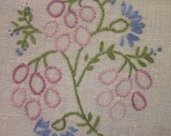 Vintage Pulled Linen Dresser Scarf - Hand Embroidered - Blue and Lavender