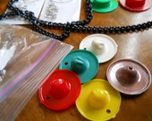 Kitchy Vintage Plastic Millinery Hat Charms for Necklace Bowler Ranger
