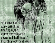Digital Download Tis now the very witching time of night Shakespeare Quote, digi stamp, Scary Ghost, Digital Transfer Halloween, Typography
