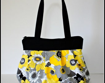 Yellow and Gray Zippered Floral Pleated Bag