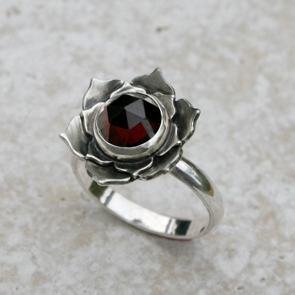 Garnet Bands: Lotus Garnet Sterling Silver Cocktail Ring Wine Red Garnet