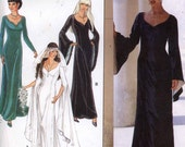 Exotic Wedding gown with train and bell sleeves Renaissance Style wedding dress or evening dress Simplicity 9033 sewing pattern Sz 8 to 18