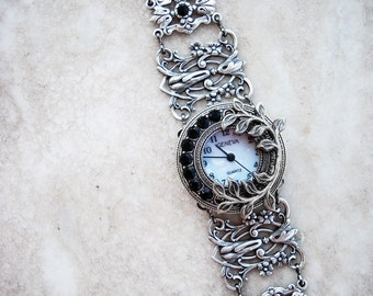 Women watches Gothic watch gothic jewelry Silver bracelets Women small face watch Silver filigree wrist watch bracelet