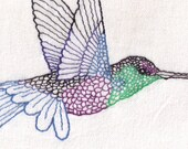 Detailed Hummingbird Hand Embroidery Pattern