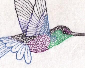 Printed Hummingbird Hand Embroidery Pattern, Bird, Flying, Flight, Detailed