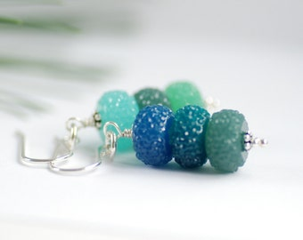 Blue and Green Earrings, Teal Earrings, Candy Earrings, Holiday Jewelry, Dangle Earrings, Acrylic Jewelry, Sparkly Earrings - Sugar Plums