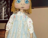 "Primitive doll e-pattern Special Blessings 20"" doll with sweet painted eyes.. (HAFAIR)"