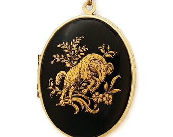 Aries - Vintage Zodiac Locket Necklace - Rare Black And Gold Astrology Sun Sign Aries Ram Glass Cabochon Locket