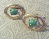 Cufflinks Vintage Japanese Glass and Gold