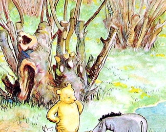 Winnie the Pooh - Eeyore picked the balloon - Vintage 1957 Book Page - 6.5 x 9
