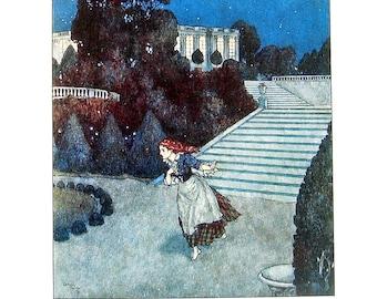Dulac Fairy Tales - Cinderella - 1979 Vintage Book Plate - 8.5 x 11