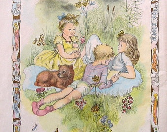 Children in a Meadow, 1945 Vintage Book Page Religious Theme