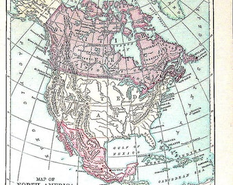 Antique Map - 1877 - Map of North America -Geography Book Page - 9 x 7