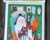 Cat Lady Card Set - 4 Funny Whimsical Art Note Cards
