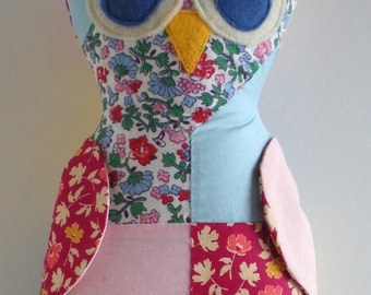 Reduced Vintage Owl stuffed owl from vintage quilt Read entire description before ordering