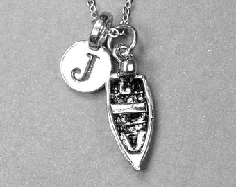 Motor Boat Necklace, boat charm, silver plated pewter, initial necklace, initial hand stamped, personalized, monogram