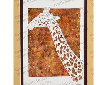 Giraffe Papercutting, Handcut Original, Watercolor Background