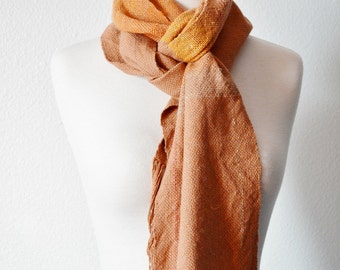 TERRACOTTA ARMY - Handwoven Scarf in Terracotta, Clay, Saffron Yellow, Orange. Tiny Stripes and Colorblocks. Sunset Colors, Fall Fashion