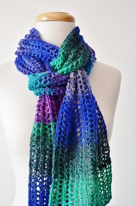 Women's Scarf in Brilliant Mountain Blues, Teal Green, and Purples - Fall Fashion, Lace Scarf, Handknit Scarf. CASCADES