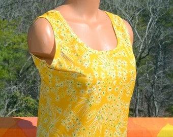 vintage 70's women's tank top FLORAL shirt disco poly yellow gold Medium 60s