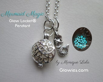 Mermaid Magic Glow Locket Ocean Aqua Blue Pendant