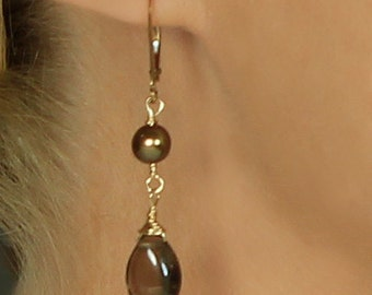 Brown Earring, Smoky Quartz & Chocolate Pearl Earrings, Smoky Quartz Earring, Leverback, Brown Bridesmaid Jewelry