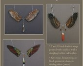 CUSTOM Leather Wings Necklace - Bird Wing Pendant with Dangling Leather Feather