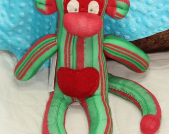 Green and Red Sock Monkey - OOAK
