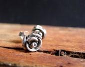 Rose Post Earrings Sterling Silver Studs Botanical Jewelry Flower Earrings Valentines Jewelry