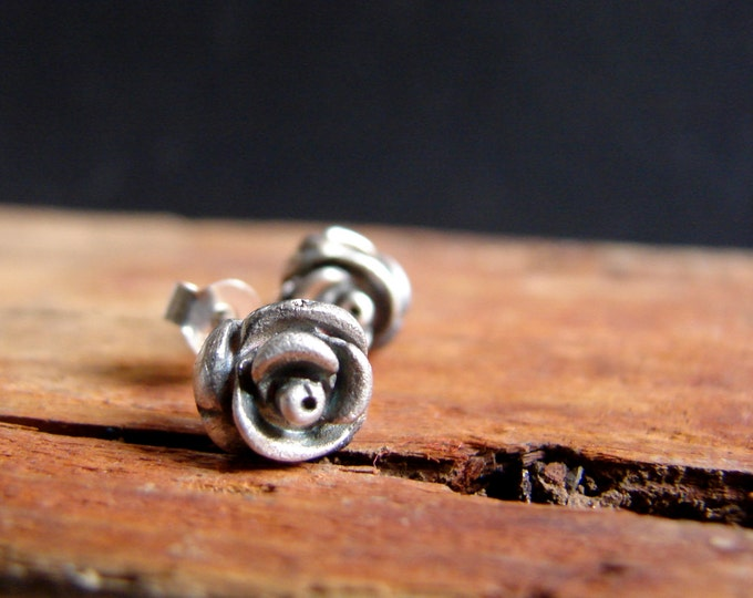 Rose Post Earrings Sterling Silver Studs Botanical Jewelry Flower Earrings Valentines Jewelry