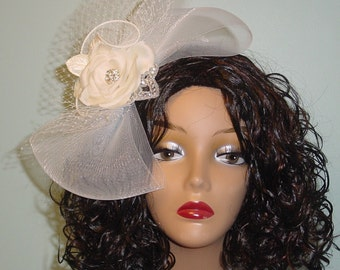 CLEARANCE SALE Ivory Floral Wedding  Fascinator Birdcage Bow Headpiece  Ready to Ship