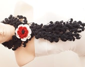 Mulberry Scarf - Pompom Scarf- Cocoon Scarf with lovely crochet flower brooch
