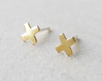 X Earrings, Tiny Stud Earrings, Minimalist, Brass Jewelry, Unisex Earrings, Geometric Earrings, Sterling Silver Hypoallergenic (E210)