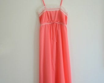 Coral Vintage 70s Christian Dior Gown Nightgown Pleated XS P Petite