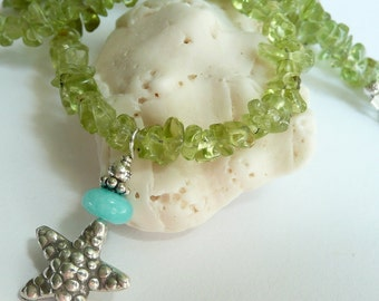 Green Peridot Blue Peruvian Opal Gemstone Artisan Fine Silver Starfish Charm OOAK Boho Beach Organic Summer Gift for Her Charm Necklace