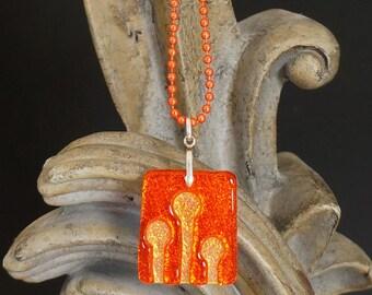 Enoki Orange Carved Dichroic Glass Pendant - FREE SHIPPING!
