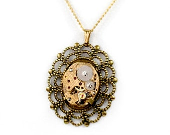 Steampunk Neo-Victorian Lolita Gold Wreath Filigree Necklace with Authentic Vintage Watch Etched with Scales by Velvet Mechanism