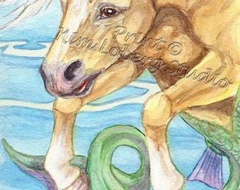 Unicorn Palomino Horse Seahorse Mustang Hippocampus Fantasy stallion ACEO mini art Print Kim Loberg Nebraska Artist EBSQ WHOA Team