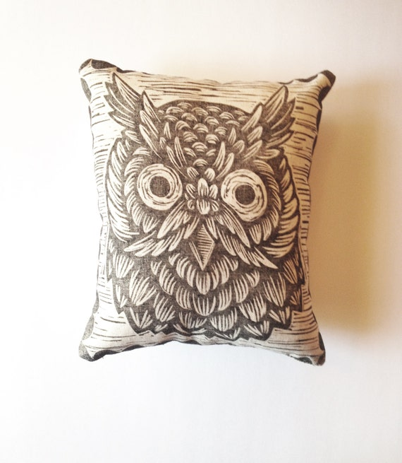 Owl Throw Pillow Etsy : Items similar to Handprinted Woodcut Owl Decorative Pillow SALE on Etsy