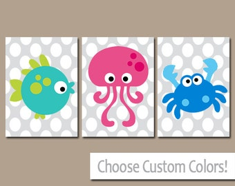 Sea Animals BATHROOM Wall Art   CANVAS Or Prints   Nautical Bathroom Decor    Boy Girl
