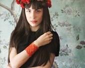 lace bracelet cuff  // LORRAINE // tangerine red-orange bracelet / bridesmaid cuff, statement jewelry, vintage style, boho cuff