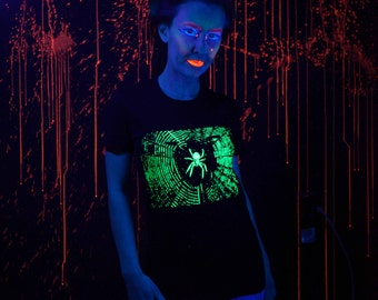 Glow in the Dark Spider T-shirt Ladies Small, Medium, Large,  or Extra Large