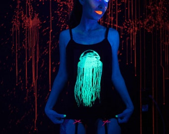Glow in the Dark Jellyfish Tank Top Size Small, Medium, Large or Extra Large