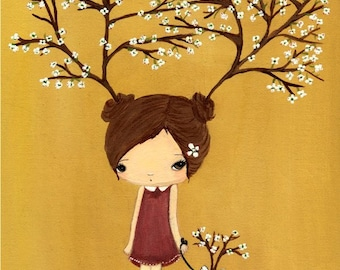Dog Print French Bulldog Art Girl with Tree Antlers---The Dogwood Trees Print