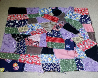vintage 40s Crazy Quilt Section of Unfinished rayon fabric Quilt #1 Embroidered face