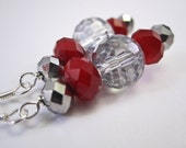 Crimson and Crystal Earrings, Free Shipping, Laura Mae Jewelry
