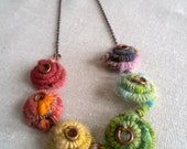 Rainbow Handspun and Recycled Copper Coil Necklace, As seen in Spinoff Magazine!