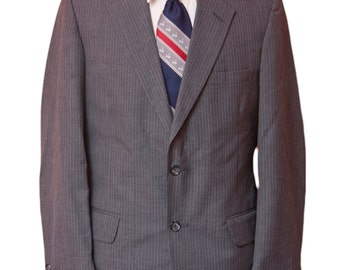 Men's Suit / Vintage Grey Blazer and Trousers / Size 38-32 Small