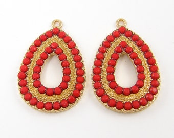 Pair of Red Gold Teardrop Boho Earring Components Chandelier Drop Charms Bohemian Gypsy |R3-7|2